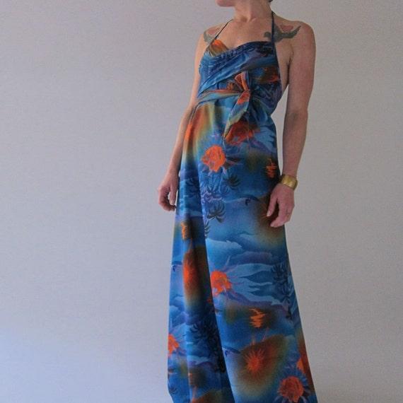 1970s Vintage Convertible Hawaiian Maxi Dress by Lilia - Honolulu  - Medium
