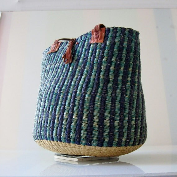 1970s Vintage Woven Sea-Grass Basket Purse with Red Leather Straps