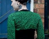Green leopard print bolero shrug RESERVED