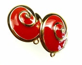 Clip on earrings, red enamel