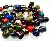 Vintage bead cones, enamel flowers brass bell shaped color mix 50pcs lot