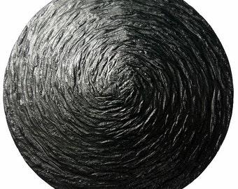 Buttons, black brushed vortex pattern 1 pc