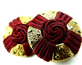 Buttons, soutache thread wine red 2pcs