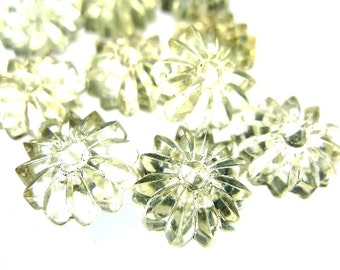 Vintage glass sew ons, crystal flower heads 15pcs