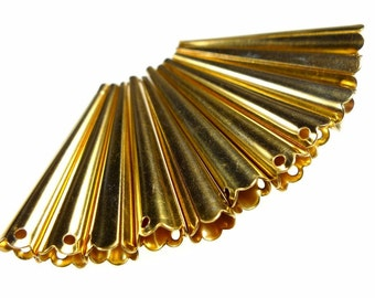 Vintage bead cones or aiglets gold tone, brass 10pcs