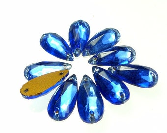 Glass sew ons sapphire blue pear drops