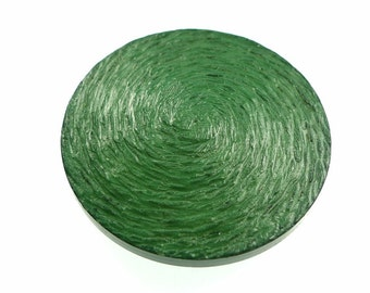 Buttons, green brushed vortex pattern 1 pc