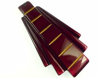 Art deco style pendant wine red