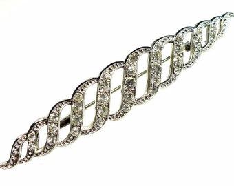 Rhinestone pins, silver tone