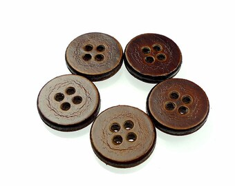 Leather buttons, brown four holes handmade