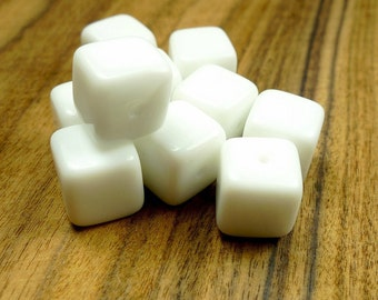 White cube beads, opaque white glass 10pcs