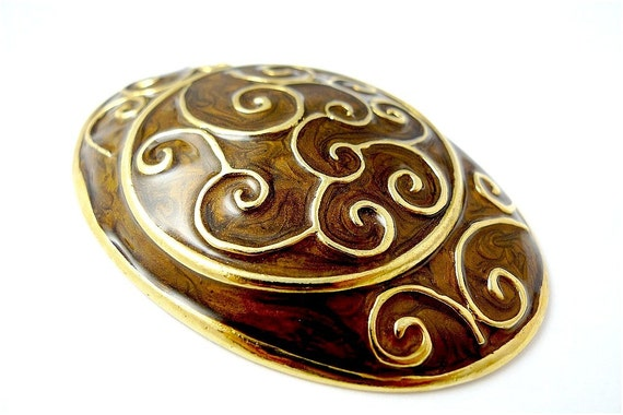 Belt buckles, vintage enameled gold tone metal brown