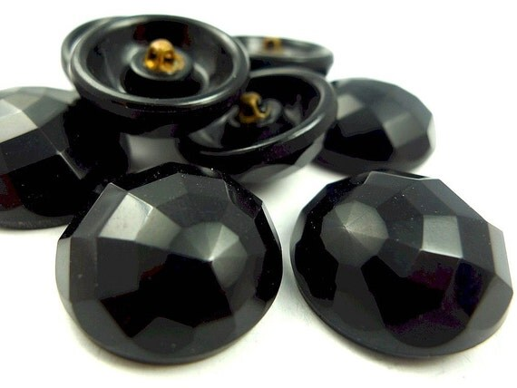 Vintage glass buttons, spider web pattern black faceted 3pcs