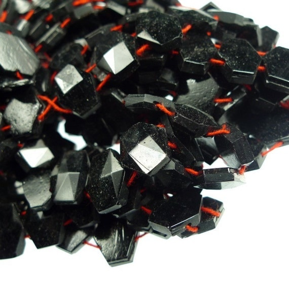 Double hole drilled glass beads hexagon jet