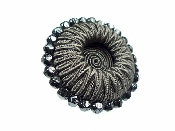 Buttons, grey soutache thread and beads 1pc