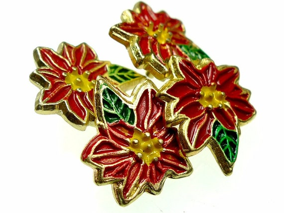 Button, poinsettia collectible enamel from JHB 5pcs