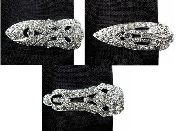 Dress clips, rhinestone pins 3 pairs
