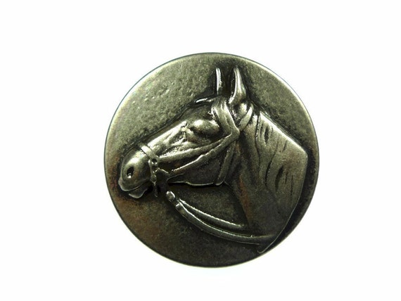 Horse head buttons, metal 2pcs
