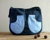 SALE. Blue denim and Gingham cotton shoulder bag, READY To SHIP.