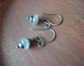 Iridescent Mystic Quartz Earrings - on Oxidized Sterling Silver - Handmade
