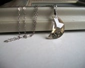 New Moon - Swarovski Crystal Necklace - Silver Shade Swarovski Crystal Pendant on Sterling Silver Chain - Handmade