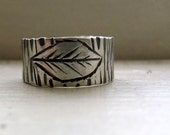 Silver Leaf Wood Grain Ring Creative Design Pattern Ring
