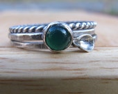 Silver Stacking Rings Leaf and Green Aventurine Set