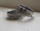 Silver Wedding Band Set - Unique Etched Tree Rings