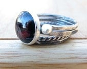 Large Garnet Silver Stacking Ring Set