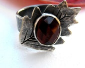 Tigers Eye Dark Silver Leaf Ring