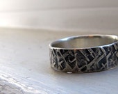 Silver Hammered Band - Textured Silver Mens Band or Unisex Ring