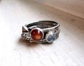 Sunstone Moonstone Ring Silver Leaf Ring Stacking Set