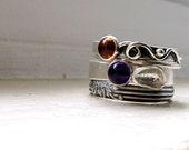 Amber Ring Amethyst Ring Pattern Ring - Stacking Ring Set
