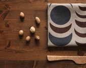 """Made to Order, 21"""" Dinner Napkin, """"Nights"""" Hand-printed in Dark Grey and Brown on Tan/ Toffee"""
