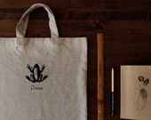 Frog the Prince, Market Tote Screen-printed on Unbleached Natural Fine Linen