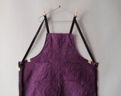 Sample Sale : Lavender Small Bib Apron, Natural Dyed Cotton Fabric