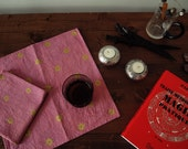 """Set of 2 Cocktail / Table Napkins """" Etoile, Fruit Rings"""" - Gold Stars and Rings on Mauve - Please Choose any Two"""