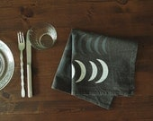 "18 inch  Hand-printed ""Nights"" Table Napkin, White and Grey on Washed Charcoal"