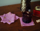 """Mauve """"fruit rings"""" Coasters - Set of 4,  Gold on Dusty Pink Feed Sack Cotton Fabric"""