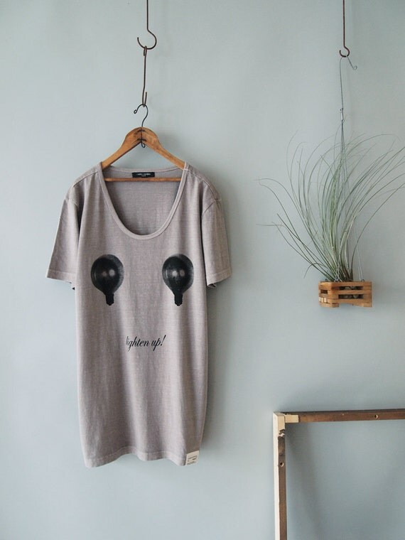 "On Sale  / Light Grey Vintage Washed Tshirt ""Lighten Up""  -  Last One, Size Medium Only"