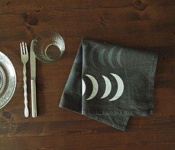 """18 inch  Hand-printed """"Nights"""" Table Napkin, White and Grey on Washed Charcoal"""