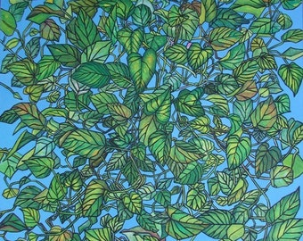 Floral large wall art, original acrylic on canvas, blue and green, foliage
