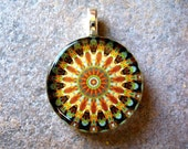 Gorgeous Mandala Pendant Necklace, Earthy Brown, Green and Blue, Round Glass