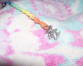 Rainbow hemp clip with Dancing Bear charm, macrame, spiral, multicolored, hippie, grateful dead, tie dye