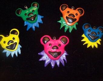 Grateful Dead Inspired Bear Polymer Clay Pendant, jewelry making, supplies, hemp jewelry, hippie