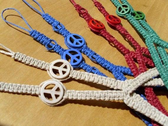 Peace Sign hemp barefoot sandals- hemp jewelry, accessories, hippie, music festivals, beach