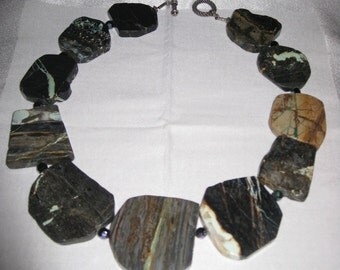 Gorgeous Large Natural Torquoise Stones Sterling Silver Necklace