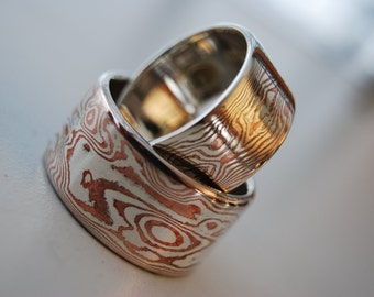 Elegant Fine Silver & Copper mokume gane ring with sterling liner wide band woodgrain etched