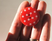 3 Huge Red Spotty Buttons 33mm