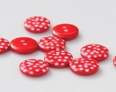 Red Polka Dot Buttons - 10 buttons (12mm)